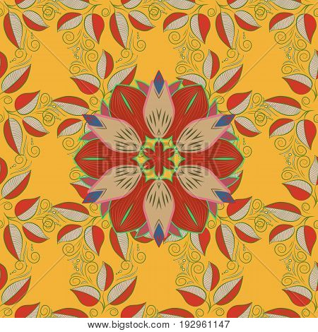 Decorative ornate round mandala. Colored over. Colored stickers flash temporary tattoo mehndi and yoga design boho magic symbol. Invitation wedding card scrapbooking. Vintage vector pattern.