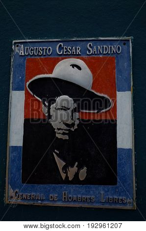 31St August 2014, Leon, Nicaragua - A Plaque Of Sandinista In Leon Showing The Strong Socialist Hist