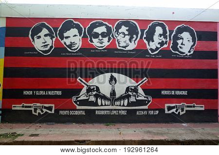 7Th September 2014, Leon, Nicaragua - A Sandinista Mural Of Various Revolutionaries In Leon Showing