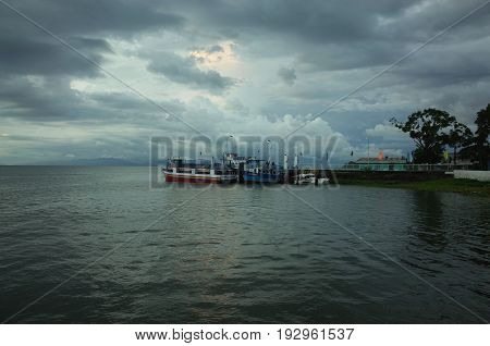 21ST SEPTEMBER 2014 OMETEPE NICARAGUA - Moyogalpa Harbour on Isla Ometepe in Nicaragua the main entry and exit point for tourists
