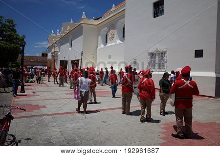 24Th September 2014, Leon, Nicaragua - Soldiers March Through The Street To Celebrate The Festival D