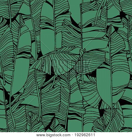 Tropical leaves, jungle pattern. Seamless, detailed, outlined botanical pattern Vector background