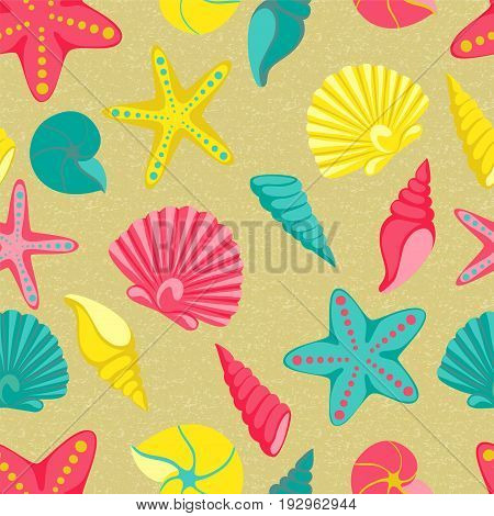 Seashell seamless pattern. design for holiday greeting card and invitation of seasonal summer holidays summer beach parties tourism and travel.