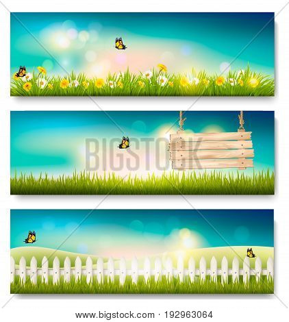 Set of spring nature landscape banners with grass and wooden sign. Vector.
