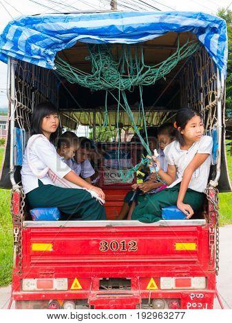 Chaing Rai, Thailand - May 19 2017: Myanmar Student On School Bus.