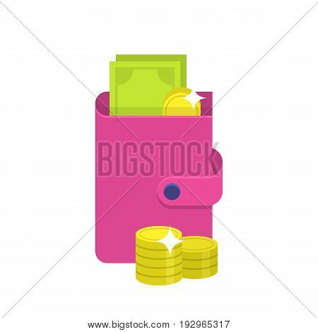 Flat wallet icon. Pink wallet with cash and coin. Internet sign in cartoon style. Web and mobile design element. Money symbol. Vector colored illustration isolated on white background