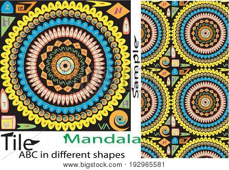 Colorful vintage seamless pattern with floral and mandala elements.Hand drawn background. Can be used for fabric wall paper tile wrapping covers and carpet.shahi mehal alphabetic American European remix mandala ottoman motifs.