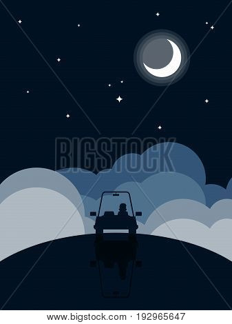 Night landscape flat design background silhouette car driving through darkness vector illustration