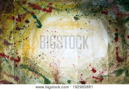 Abstract watercolour hand painted background. Watercolour stains, wash and splashes with space for text.