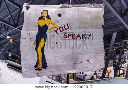 Oshkosh WI - 3 March 2017: A piece of nose art from WWII aircraft featuring You Speak