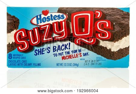 Winneconne WI -22 June 2017: A box of Hostess Suzy Q's on an isolated background