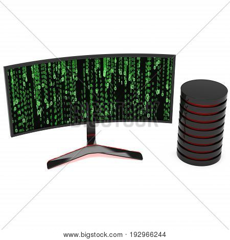 Black Curved LCD tv screen and abstract matrix binary computer code. 3d render isolated on white.