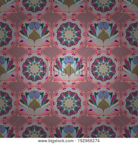 Vector flower illustration. Seamless pattern with floral motif. Seamless floral pattern with pink flowers watercolor.