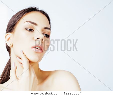 young pretty asian woman with hands on face isolated on background, stylish fashion healthcare people concept close up