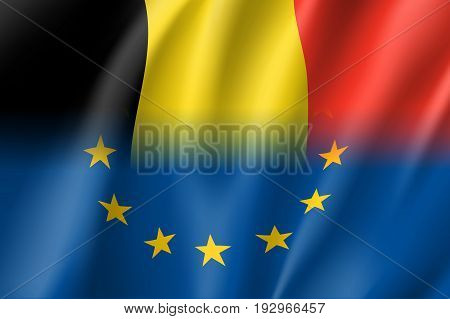 Symbol of Belgium is EU member. European Union sign with twelve gold stars on blue and Belgium national flag. Vector isolated icon