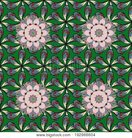 Colorful mandala. Anti-stress mandala. Oriental flourish vector. Indian flower mandala. Decorative colored round ornament. Yoga logo background for meditation poster.