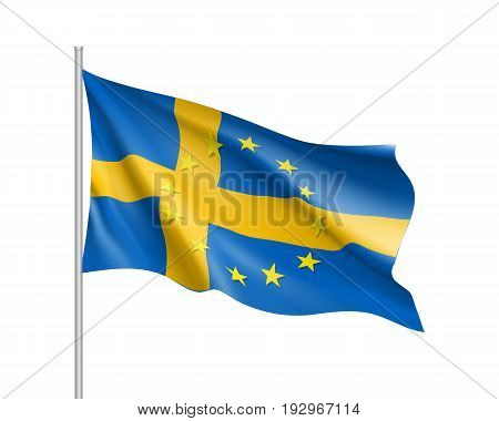 Sweden national waving flag with a circle of European Union twelve gold stars, symbol of unity with EU, member since 1 January 1995. Realistic vector illustration