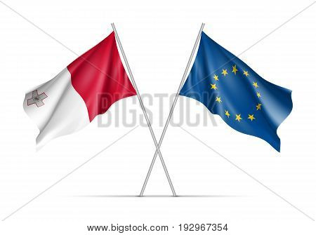Malta and European Union waving flags on flagpole. EU sign with twelve gold stars on blue and Malta national symbol white and red colors. Two flags isolated on white background