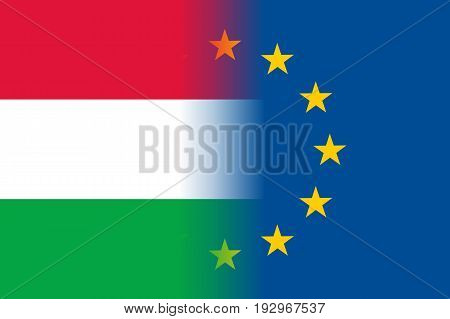 Hungary national flag with a flag of European Union twelve gold stars, solidarity and harmony with EU, member since 1 May 2004. Vector flat style illustration