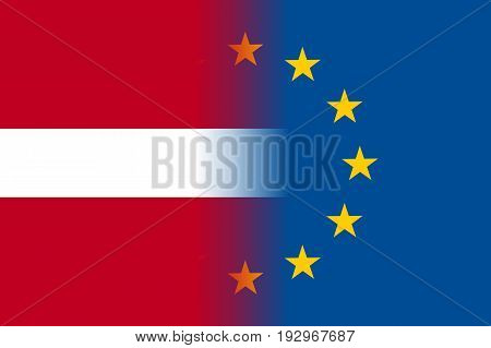 Latvia national flag with a flag of European Union twelve gold stars, ideals of unity with EU, member since 1 January 1958. Vector flat style illustration