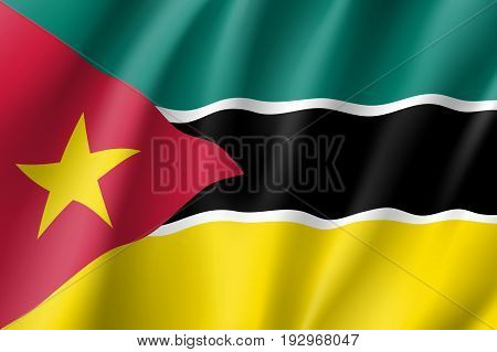 Waving flag of Mozambique. Symbol african state in proportion correctly and official colors and star. Patriotic sign East Africa country. Vector icon illustration