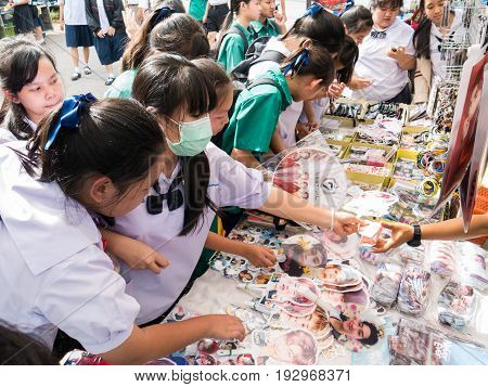 Chiang Rai, Thailand - May 21, 2017 : Asian Student Girls Crazy About And Buy Souvenir South Korea A