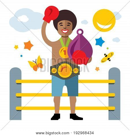 Winner of fight with punching bag and medal. Isolated on a white background