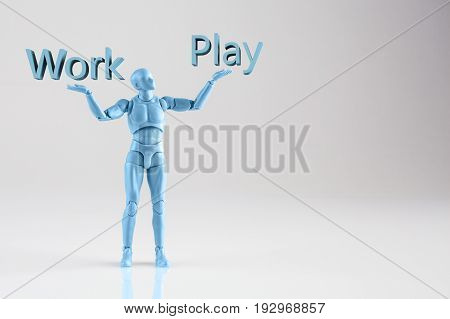 Blue Male Figurine Standing On White Background With Words Work And Play. Conceptual Depiction Of Wo