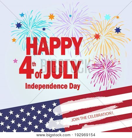 Happy 4th of July independence day poster, greeting card. Congratulations lettering, banner for celebrate American Holiday, Memorial day, Labor Day. Festive background with fireworks in American flag color. Vector template.