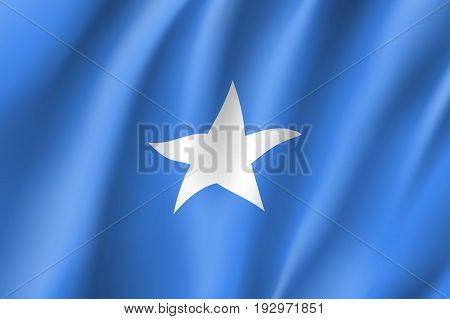 Waving flag Federal Republic of Somalia. Symbol african state in proportion correctly and official colors. Patriotic national sign of somali. Vector icon illustration