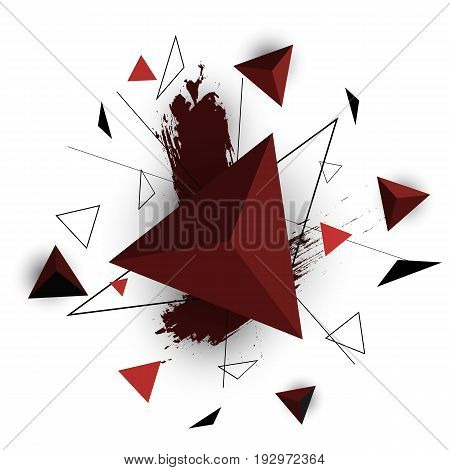 Red triangle abstract on white background, stock vector