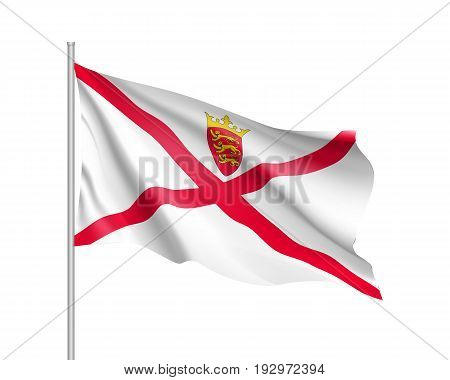 Waving flag of Jersey. Illustration of Europe country flag on flagpole. Vector 3d icon isolated on white background