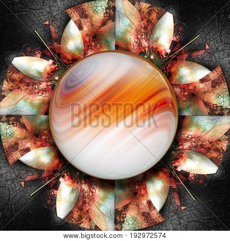 3D render of colorful plastic fractal reddish flower disc embossed on leather with glossy color gradient  button