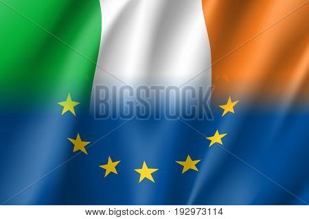 Symbol of Ireland is EU member. European Union sign with twelve gold stars on blue and Ireland national flag. Vector isolated icon