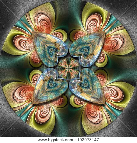 3D render of colorful plastic fractal flower star embossed on leather with glossy heart buttons