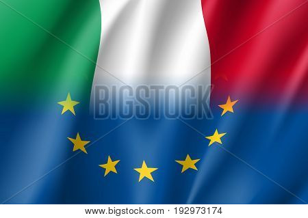 Symbol of Italy is EU member. European Union sign with twelve gold stars on blue and Italy national flag. Vector isolated icon