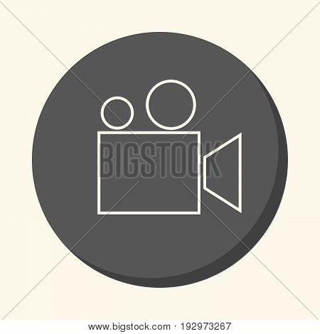 Movie camera or film projector vector round icon with the illusion of volume simple color change