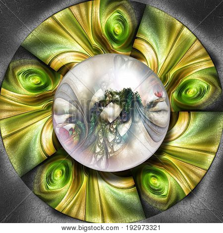 3D render of colorful plastic fractal flower disc embossed on leather with glossy silver button