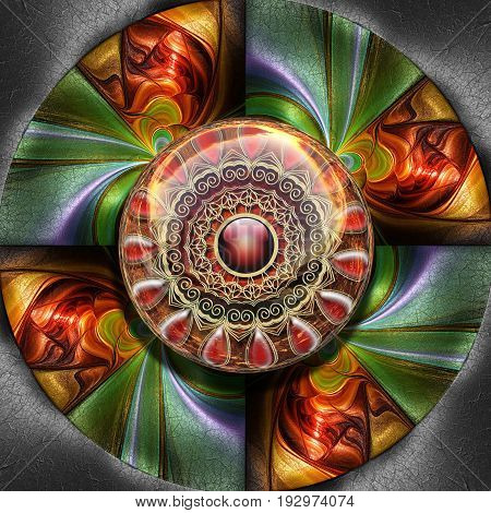 3D render of colorful plastic fractal flower beams disc embossed on leather with glossy gold ornament button