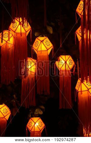Lanterns which were light up at a festive eve
