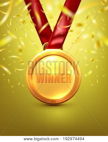 Vector of Gold medal with winner text on gold background.Winner or Award of Victory concept.Vector illustration eps 10