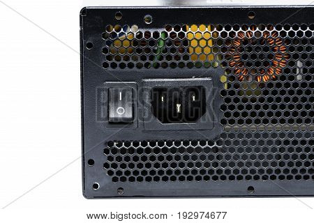 Close up power supply unit connection plug and on off switch isolated on white background