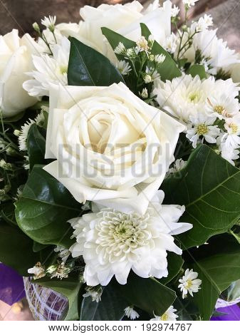 close up beautiful white rose and other flower bouquet