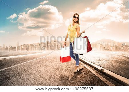 girls with shopper far away from city