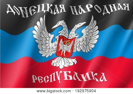 The Donetsk People's Republic flag with text in Russian, self-proclaimed state, two-headed eagle, red, black and blue color. Vector realistic style illustration