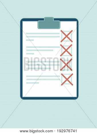 Vector clipboard with red crosses. Flat design clip board and check marks