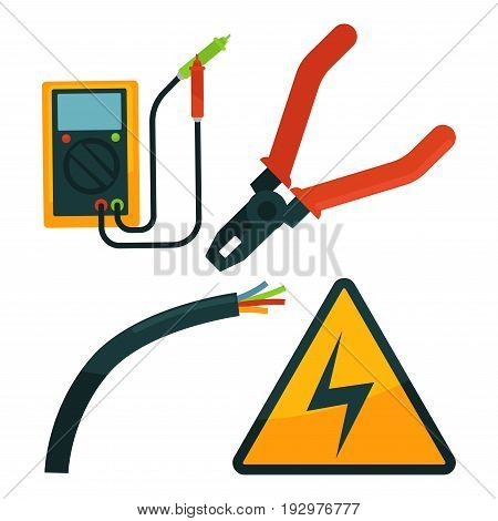 Pliers near cutted electric rope, special equipment with two wires and warning sign collection on white. Vector colorful poster in flat design of tools for repairing electricity in buildings template