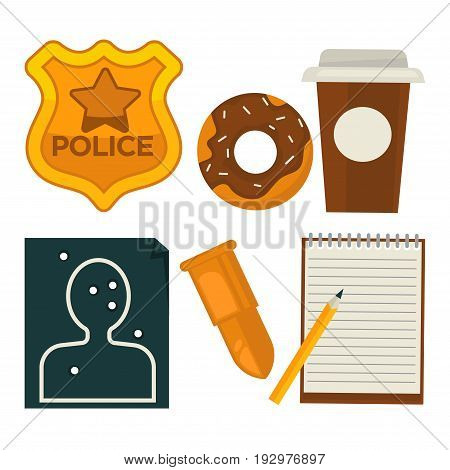 Daily average policeman belongings isolated vector illustrations set. Golden police officers ID, chocolate donut and paper cup of coffee, shot through target, bullet for pistol, notepad and pencil.