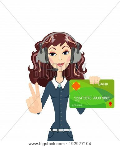 call center woman operator hold plastic cards and showing victory sign. Bank selection concept, conditions of deposits and credits. Vector, illustration, flat