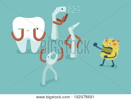 Equipment of dental fight bacteria for protect tooth,teeth and tooth concept of dental